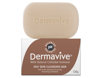 03 Dermavive Oily Skin Cleansing Bar Carton & Soap 120g 700x537px